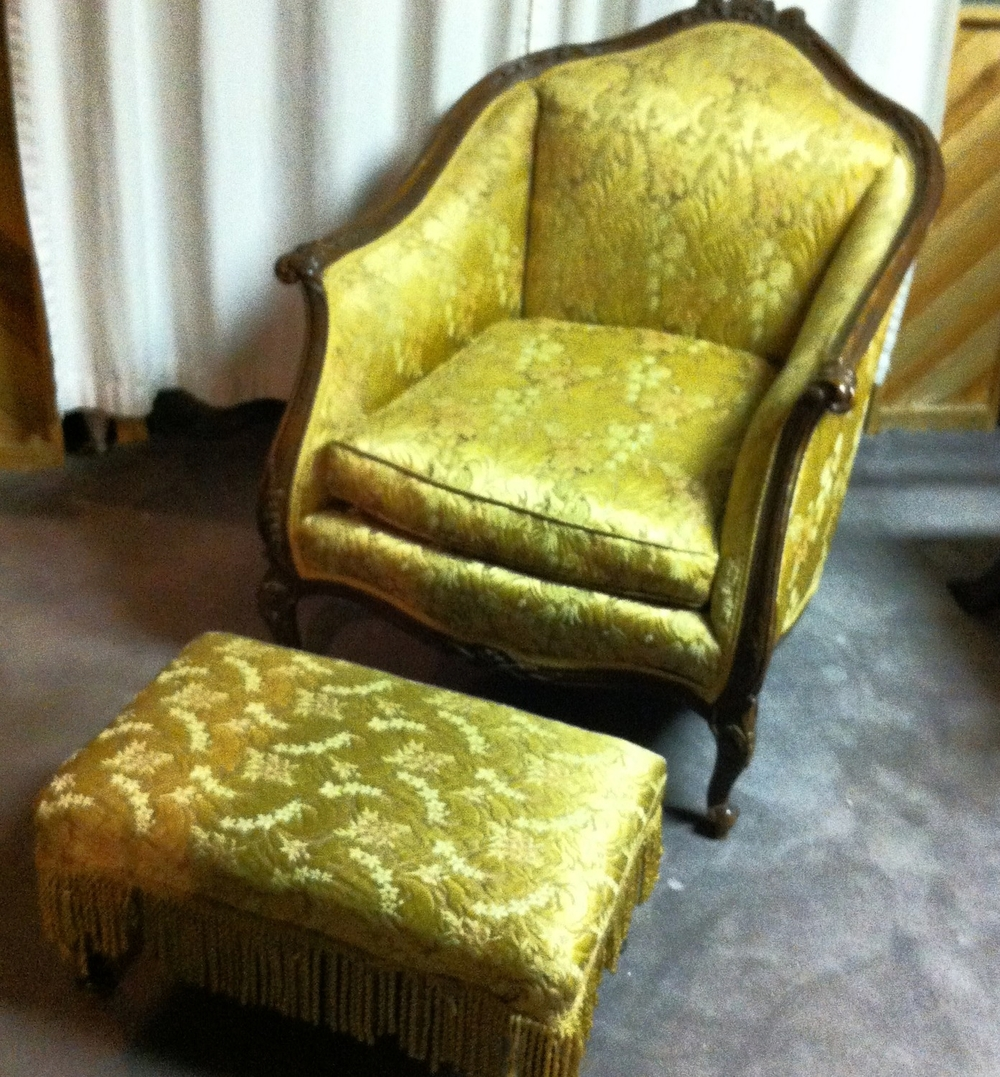 Gold Tapestry Chair With Ottoman