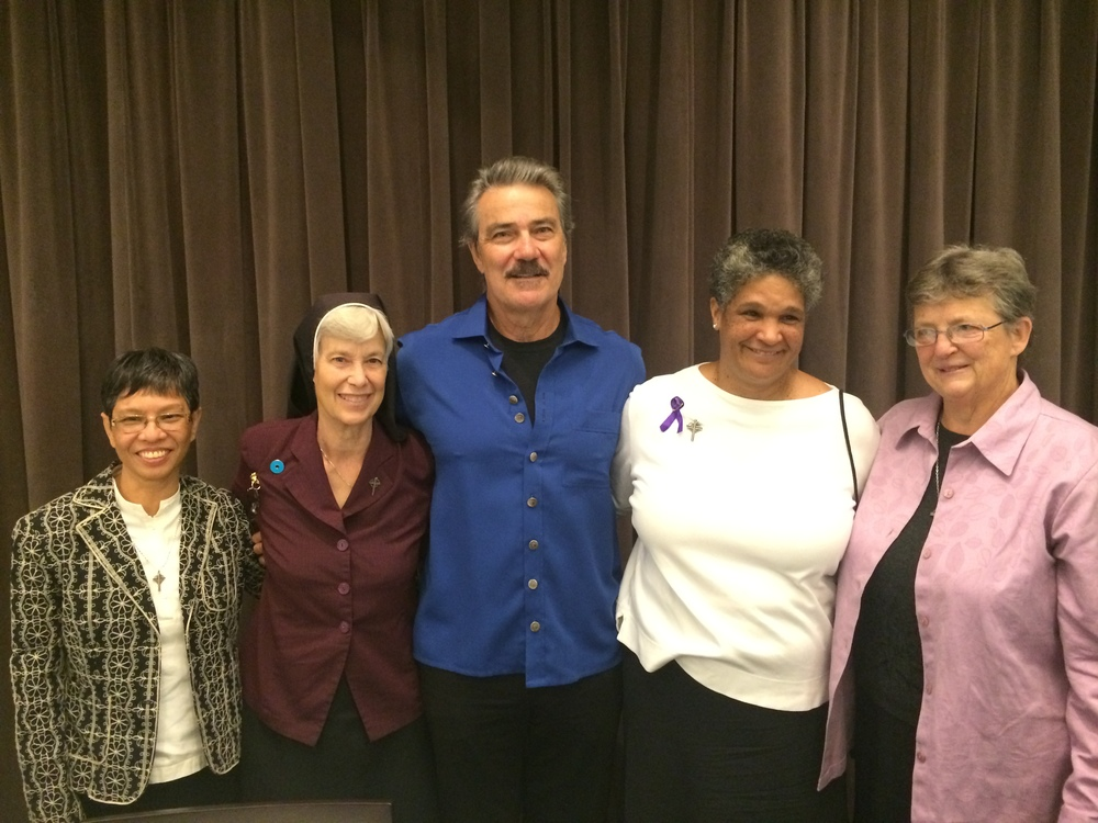 From Left to Right: Sr. Regina Do, Sr. Anne Kelley, Victor Rivas Rivers, Sr. Donna Miles and Sr. Renee Scheich at Make This Moment Count: Summit on Domestic Violence at University of Southern California (USC).