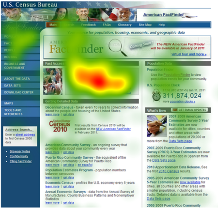 Eye tracking heat map shows that older adults fixate the center of the screen when completing a task on this Website.