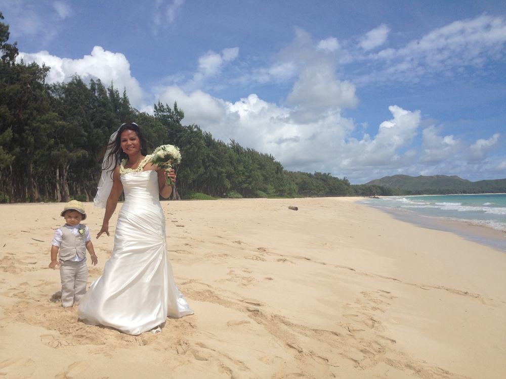 Beach Wedding Ceremony Oahu: Leo + Mai, A Waimanalo Beach Hawaii Wedding