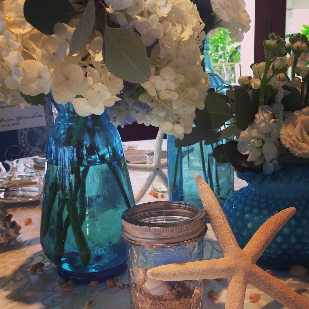 halekulani-wedding-reception-ocean-starfish-sea-blue-theme-decorations