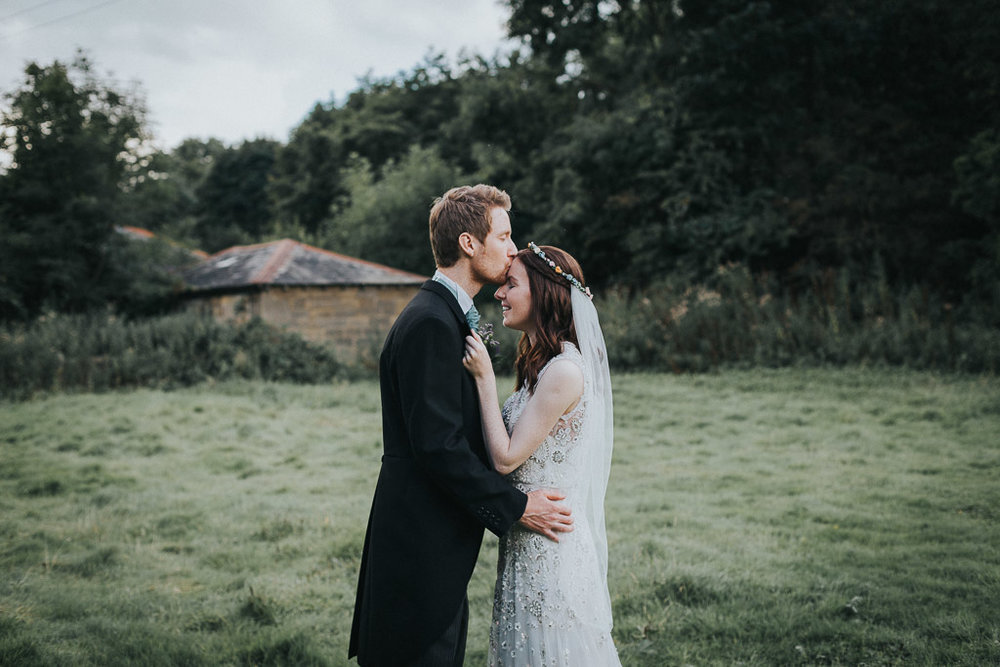 Thomas & Charlotte - Blagdon Parlour, Northumberland Wedding.  We managed to catch the last few minutes of light dashed out to one of the many secluded areas around what is a lovely Northumberland venue. The look on Charlotte's face says it all!