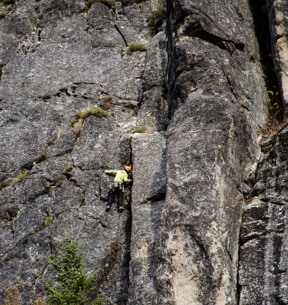 "An unknown climber makes his way up a route at ""The Thinking Spot,"" the climbing crag studied for this project."