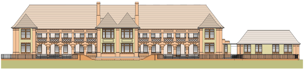 Architectural presentation drawing, showing the front elevation of the Bartlet and side annexe, as proposed prior to the redevelopment