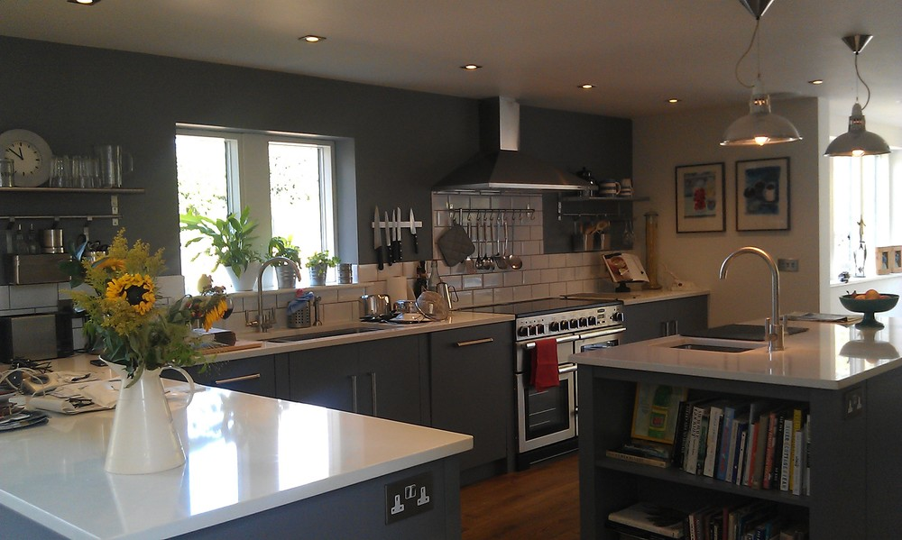 A contemporary interior design with sharp lines and striking colours was specified by the Clients, creating a modern family home.  Kitchen Designer: Ashford &Brooks, Woodbridge