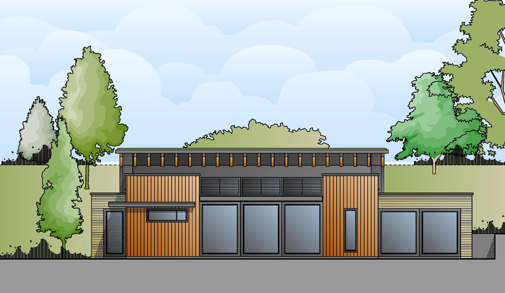 The north elevation shows the contemporary materials to be used in the design - high quality aluminium fenestration, light buff brickwork and natural larch cladding.