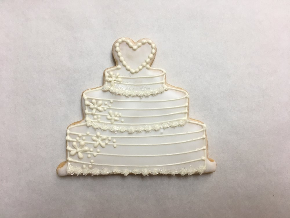 Wedding Cake with Heart, White Flowers