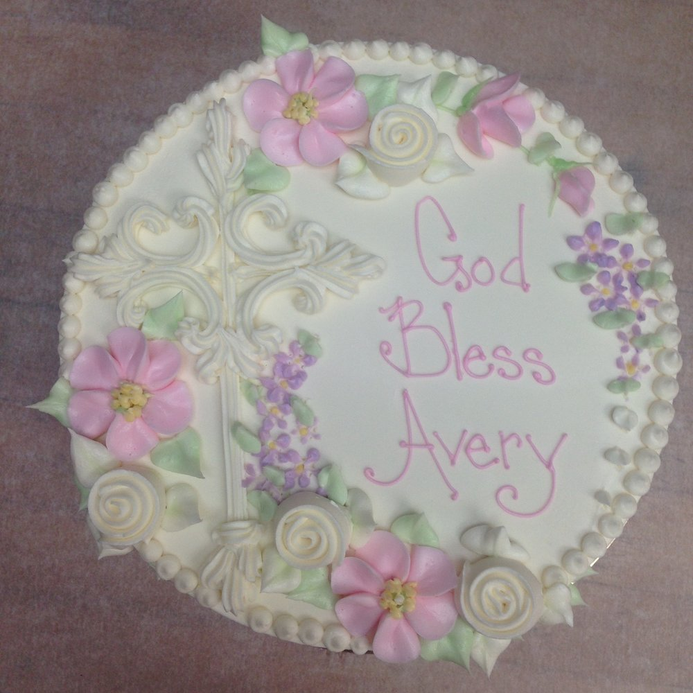 Buttercream Cross, pinks and whites with pearl dot border