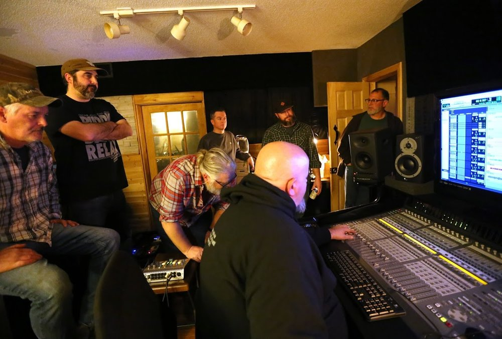Scott Bradley, Mike McKenna, David Brown, Dave O'Neil, Mike Enos, David Roy and Jason Kimball (foreground) at Blackbird Productions. Photo by Jonathan Hagloff.