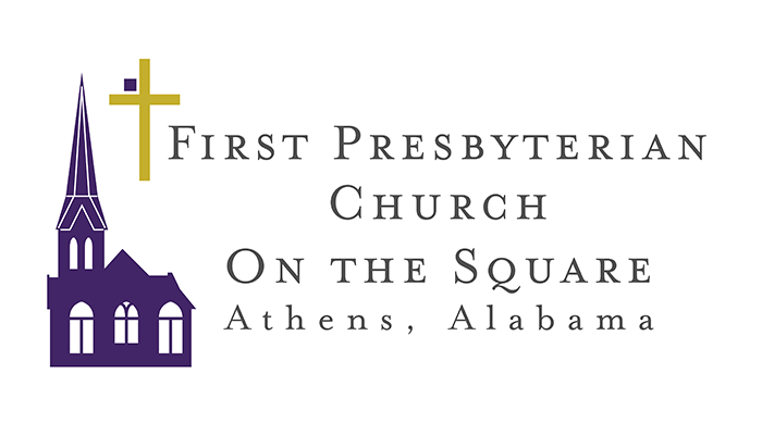 First Presbyterian Church on the Square is a well known landmark in the downtown square of Athens, Alabama. It's location on the street and easily distinguishable architecture played into the logo's creation.   Logo concept, final version modified from shown
