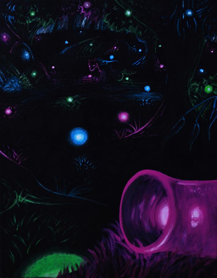 Acrylic painting on canvas, fantasy vs reality theme