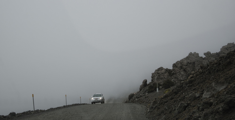 The drive in thick fog as we descent Mauna Kea. Be careful out there!