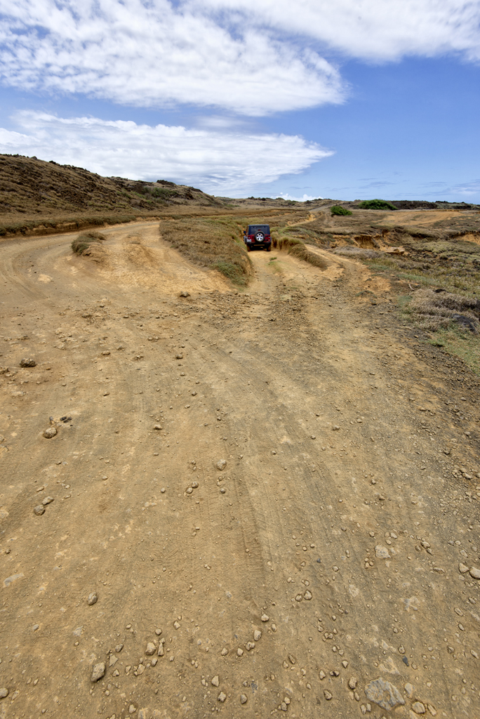 An off-road vehicle on  Papakōlea Beach trail