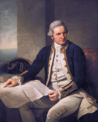 """""""Captainjamescookportrait"""" by Nathaniel Dance-Holland - from the National Maritime Museum, United Kingdom. Licensed under Public domain via Wikimedia Commons"""