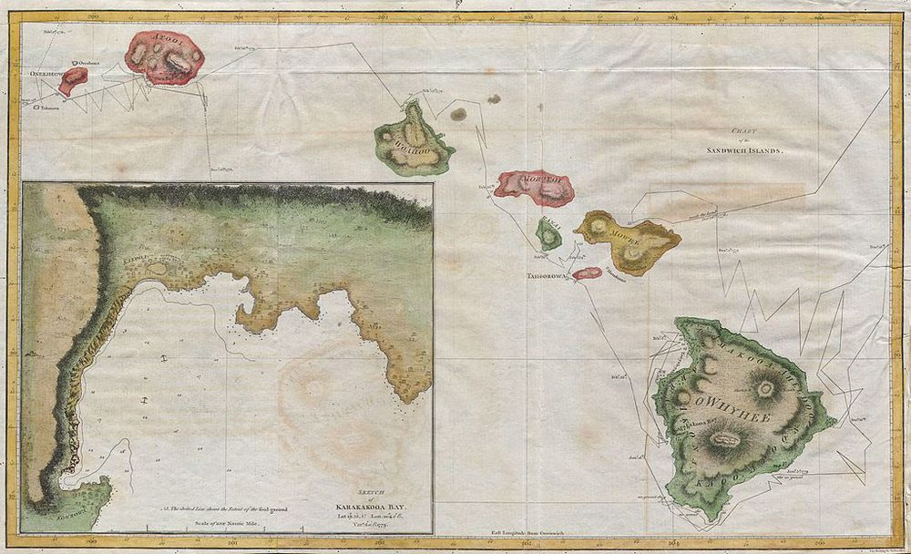 Hawaiian Islands (Sandwich Islands)chart,  printed by G. Nicol and T. Cadell for the 1785 edition of Captain James Cook and James King's, A Voyage to the Pacific Ocean