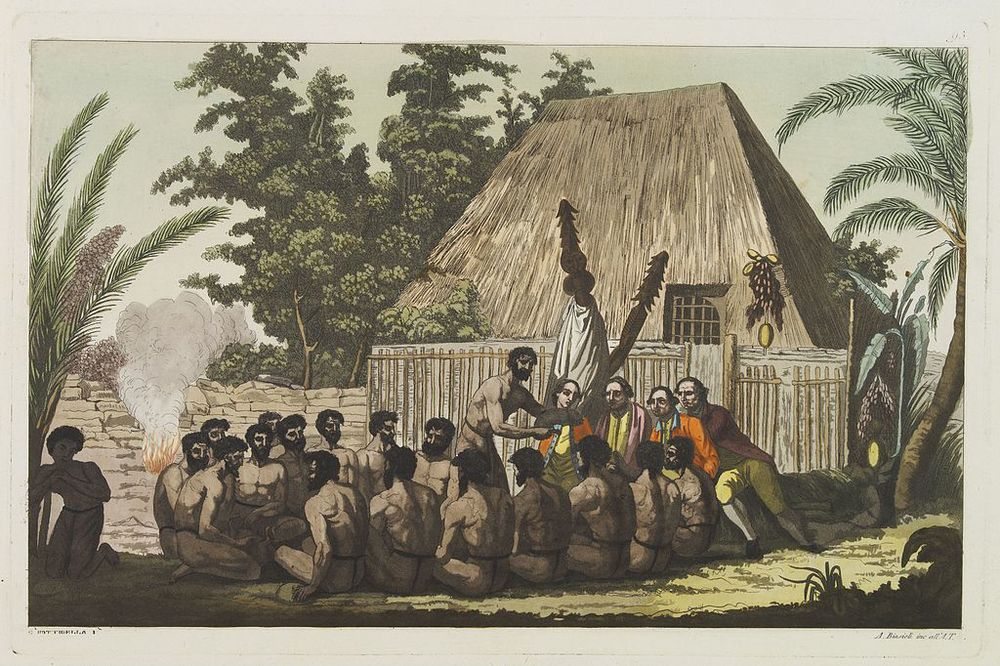 An Offering before Capt. Cook in the Sandwich Islands  John Webber [Public domain], via Wikimedia Commons