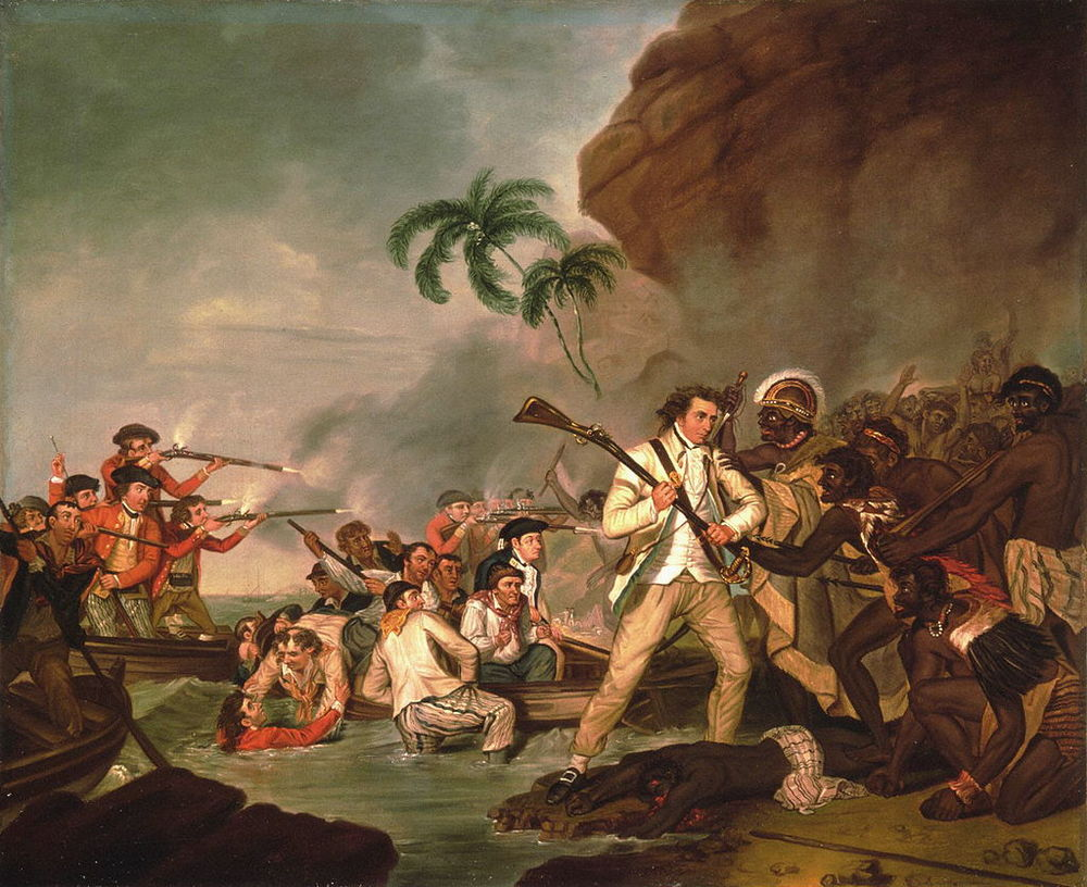 Death of Captain James Cook  , oil on canvas by George Carter, 1783, Bernice P. Bishop Museum
