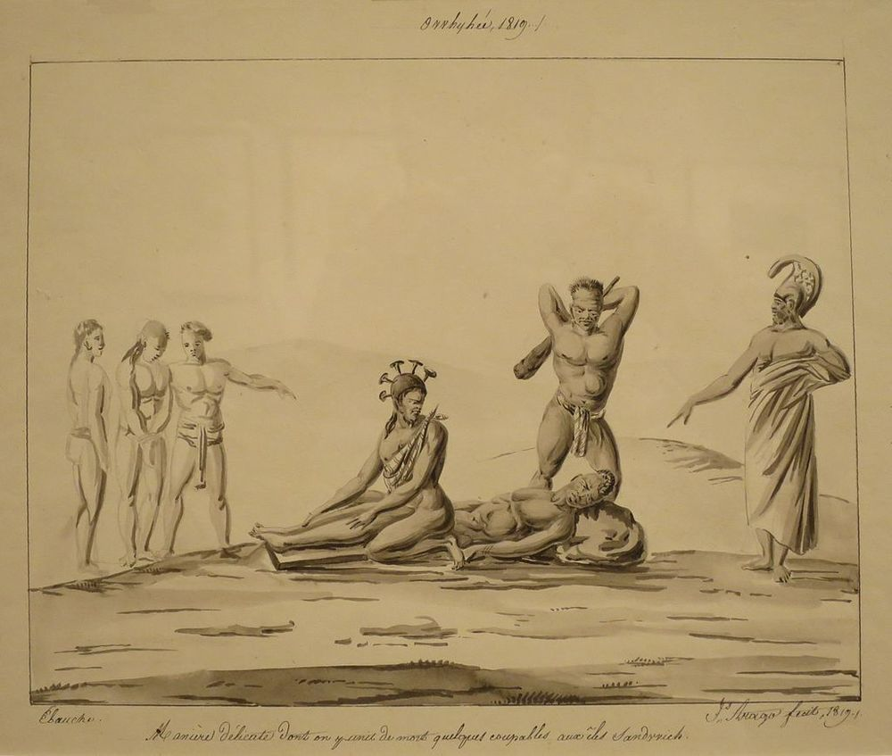 The Death Penalty of Public Execution by Clubbing', by Jacques Arago circa 1819