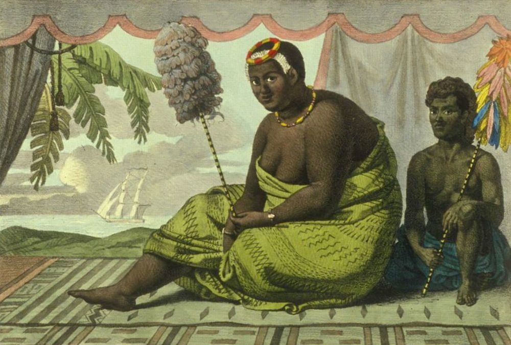 Queen Ka'ahumanu with her servant on rug  , lithograph by Jean-Pierre Norblin de la Gourdaine after painting by Louis Choris