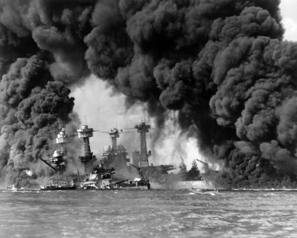 """Burning ships at Pearl Harbor""  December 7, 1941 by USN"