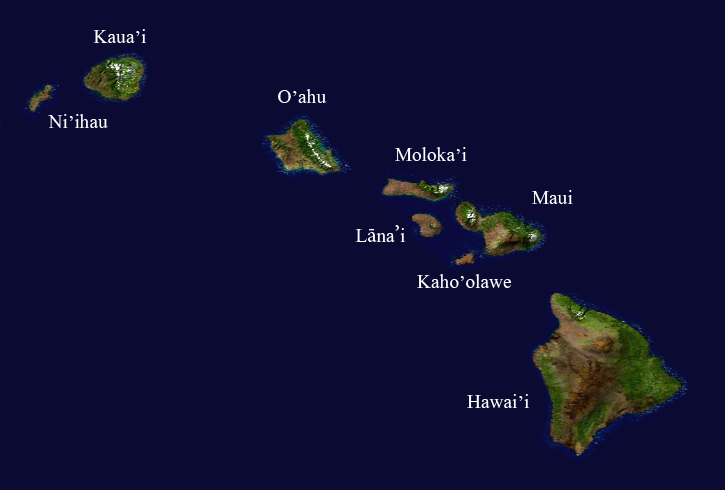 Satellite composition of the Hawaiian island chain. by  NASA/Goddard Space Flight Center