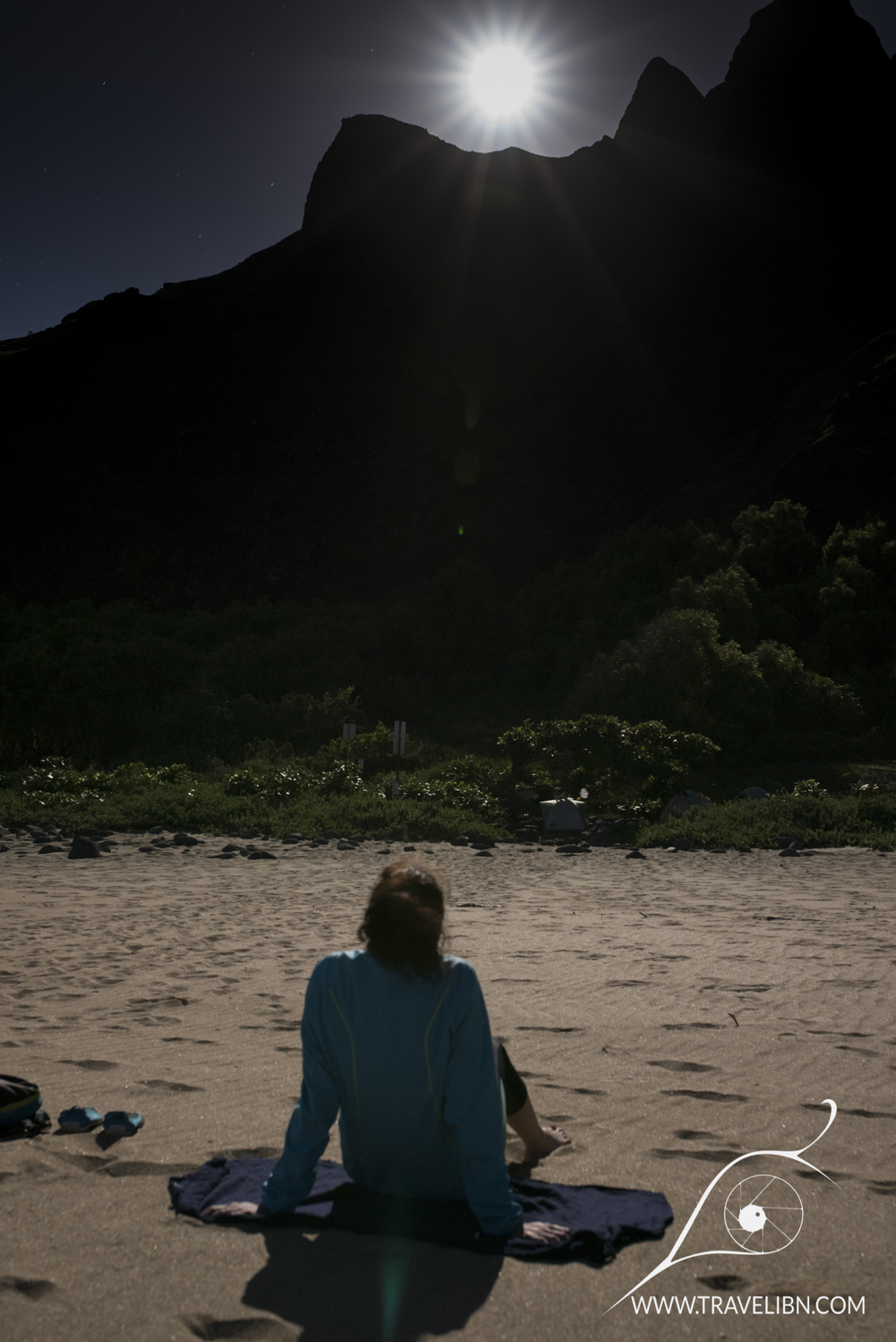 Full moon on Kalalau Beach