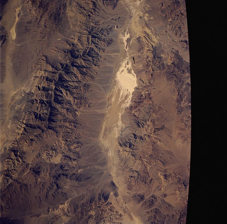 Death Valley sattelite image. Panamint Mountain Range in the west (left) portion of the image. Photograph by NASA public domain