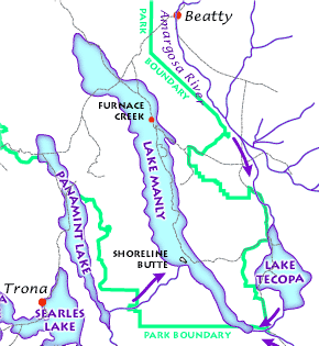 Map showing location of the now non-existing system of lakes in the area around Death Valley National Park. Diagram by National Park Services, public domain.