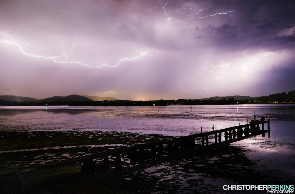 Lightning across Booker Bay, Central Coast, NSW. 1st January 2015.