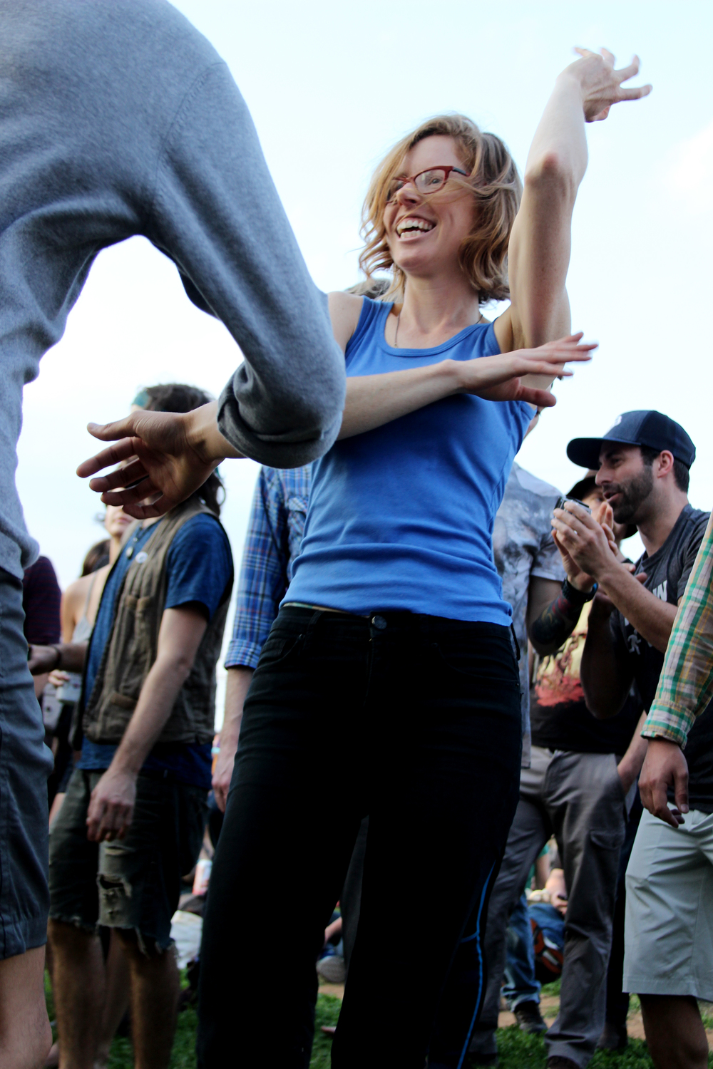 A festival goers dances to Joel Laviolette & Rattletree Marimba's music.     Photo by Tess Cagle