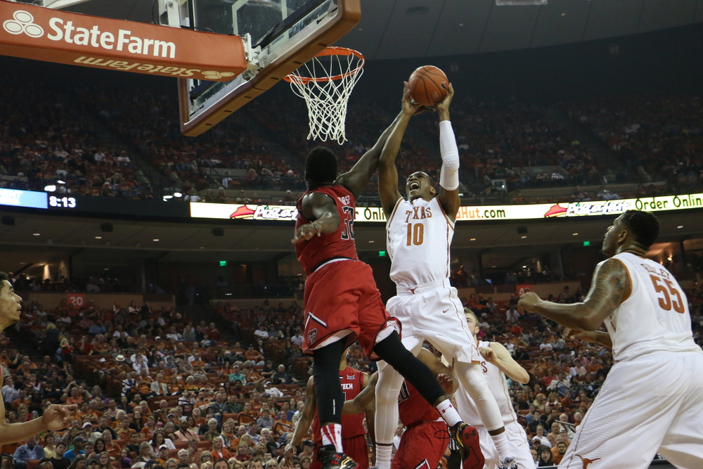 Jonathan Holmes goes up for a layup against Texas Tech on Saturday, Feb. 14.