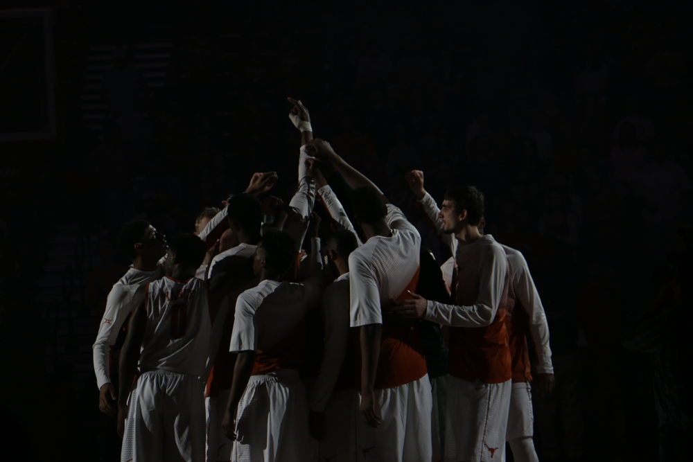 The Texas Men's Basketball team huddles before taking on Texas Tech on Saturday, Feb. 14.