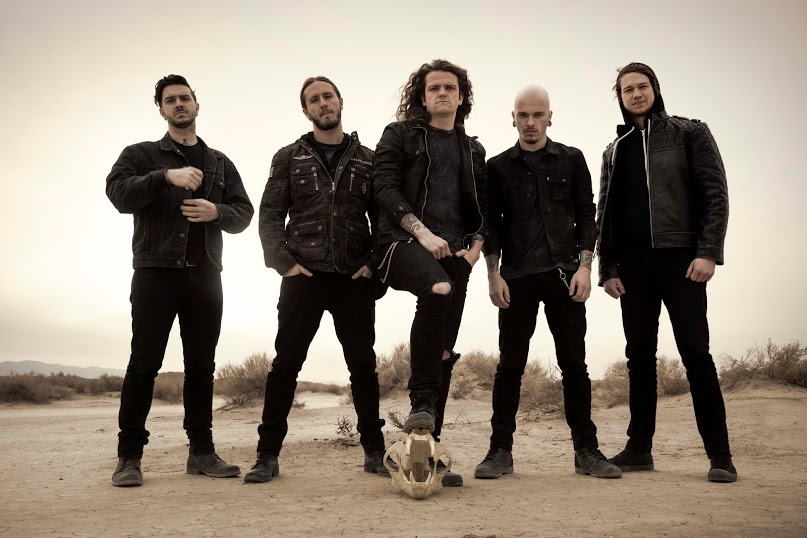 From left to right: Jerod Boyd, BJ Stead, Levi Benton, Ryan Neff and Justin Aufdemkampe of Miss May I   Photo by Travis Shinn