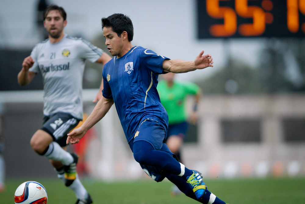 Chuy Cortes, midfielder for Austin Aztex, prepares to kick the ball during a game against Columbus Crew SC at the ATX Pro Challenge tournament on Feb. 15.