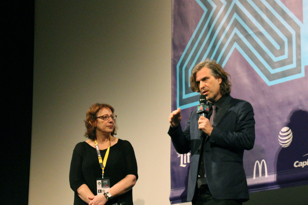"Director Brett Morgen answers questions with Head of SXSW Film Janet Pierson after the Austin premiere of ""Kurt Cobain: Montage of Heck."""