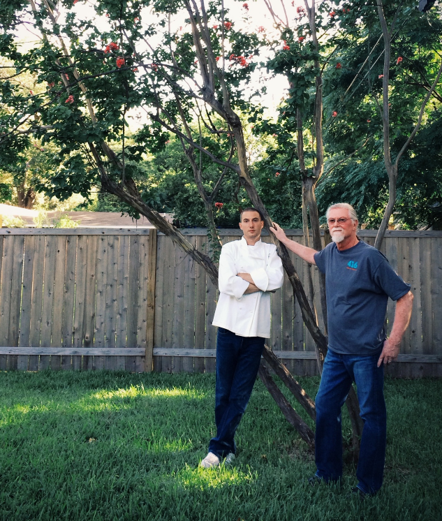 Colin Jurey and John Jurey, the son and father owners of 416 Bar and Grille, pose for a photo outside of their home in Austin. Photo courtesy of  416bargrille.com