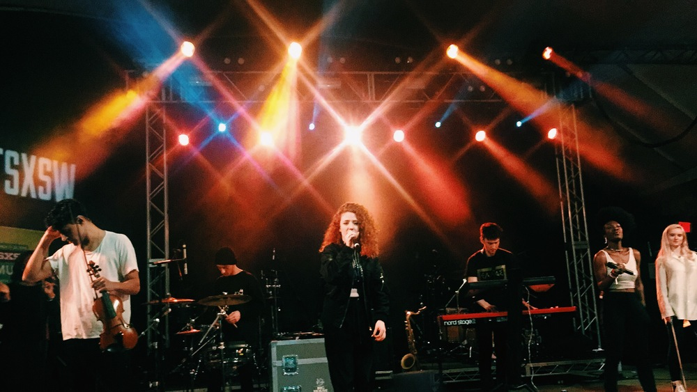 "Jess Glynne joined Clean Bandit on stage during their performance at Stubb's on Friday March 20 to sing their hits ""Rather Be"" and ""Real Love."" Photo by Emily Gibson."