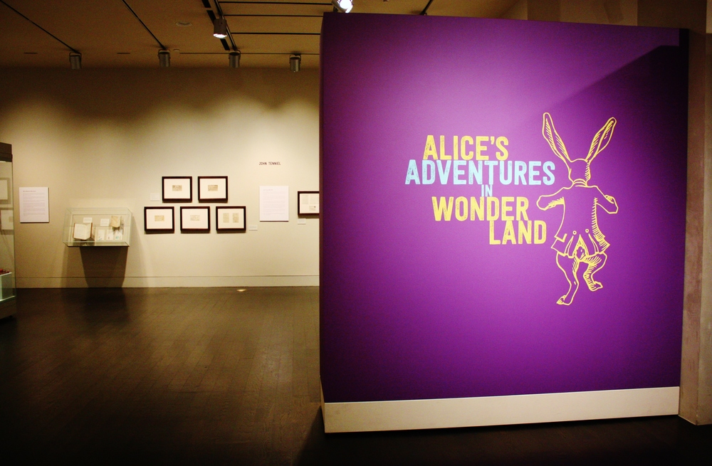"Welcoming wall for the ""Alice's Adventures in Wonderland"" exhibition at the Harry Ransom Center."