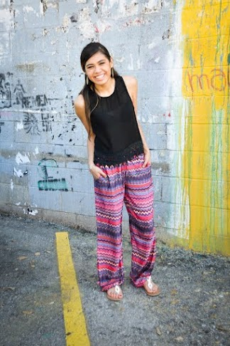 Look carefree and fabulous in a patterned flared pant.