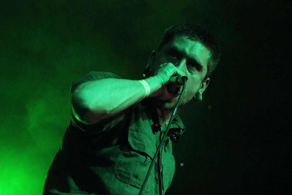 Whitechapel lead vocalist Phil Bozeman onstage at Empire Control Room & Garage, April 11, 2015.