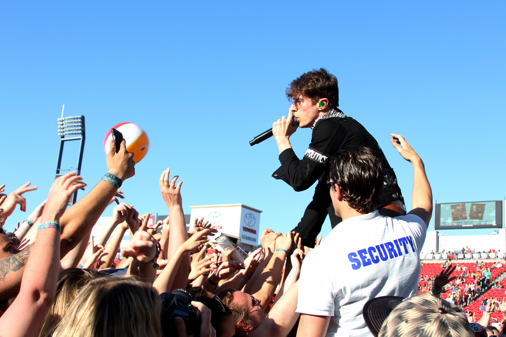 David Boyd, of New Politics, greets the crowd.  Photo by Tess Cagle