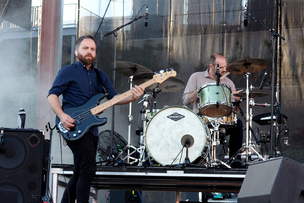 Nick Harmer, guitarist, and Jason McGerr, drummer, of Death Cab for Cutie.  Photo by Tess Cagle