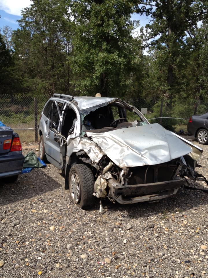 Wilson's totaled vehicle.