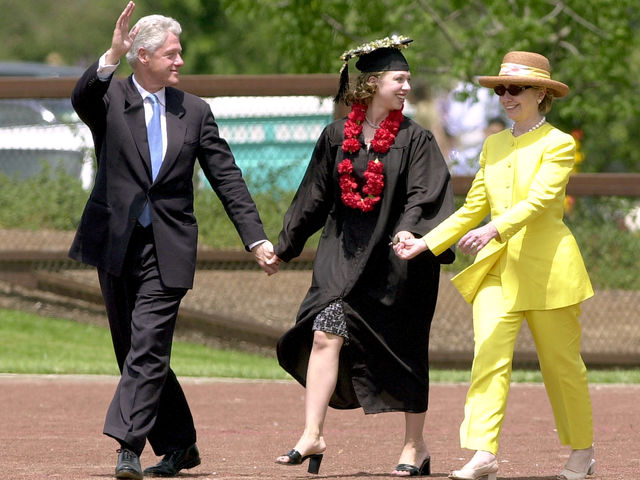 "4. ""Walking on Sunshine""       Accompanied by her daughter, Chelsea, and her husband, Bill, Hillary glows like the bright sun above."
