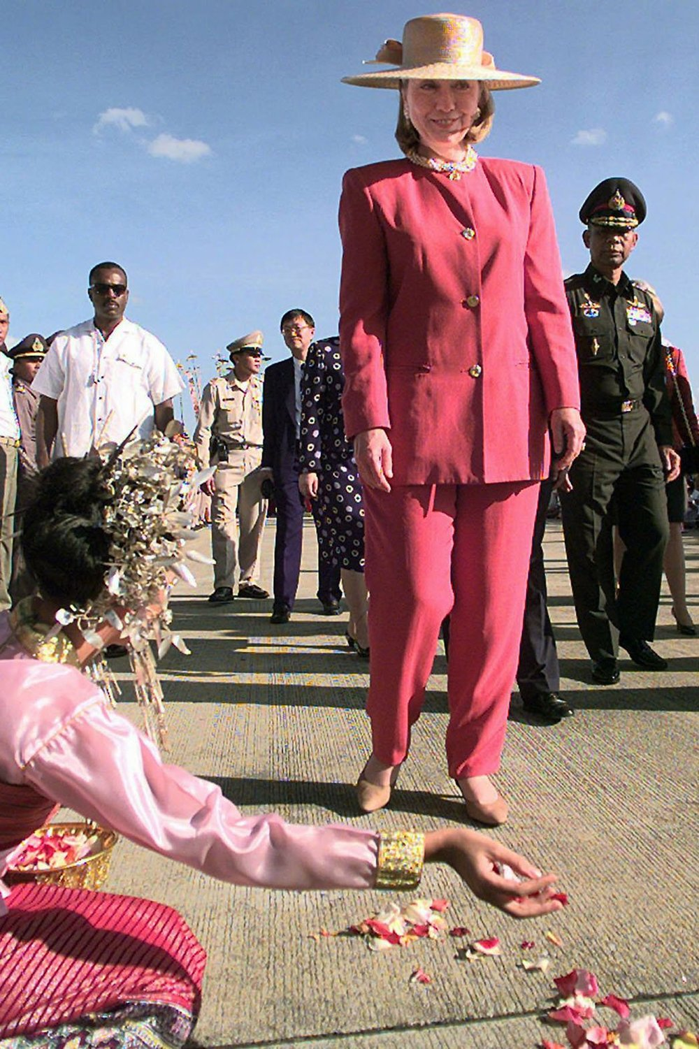 8. 1996-Pretty in Pink       Clinton arriving in Thailand.