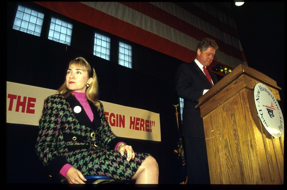 7. 1991- Holy Houndstooth       Clinton on the campaign trail with Bill in New Hampshire.