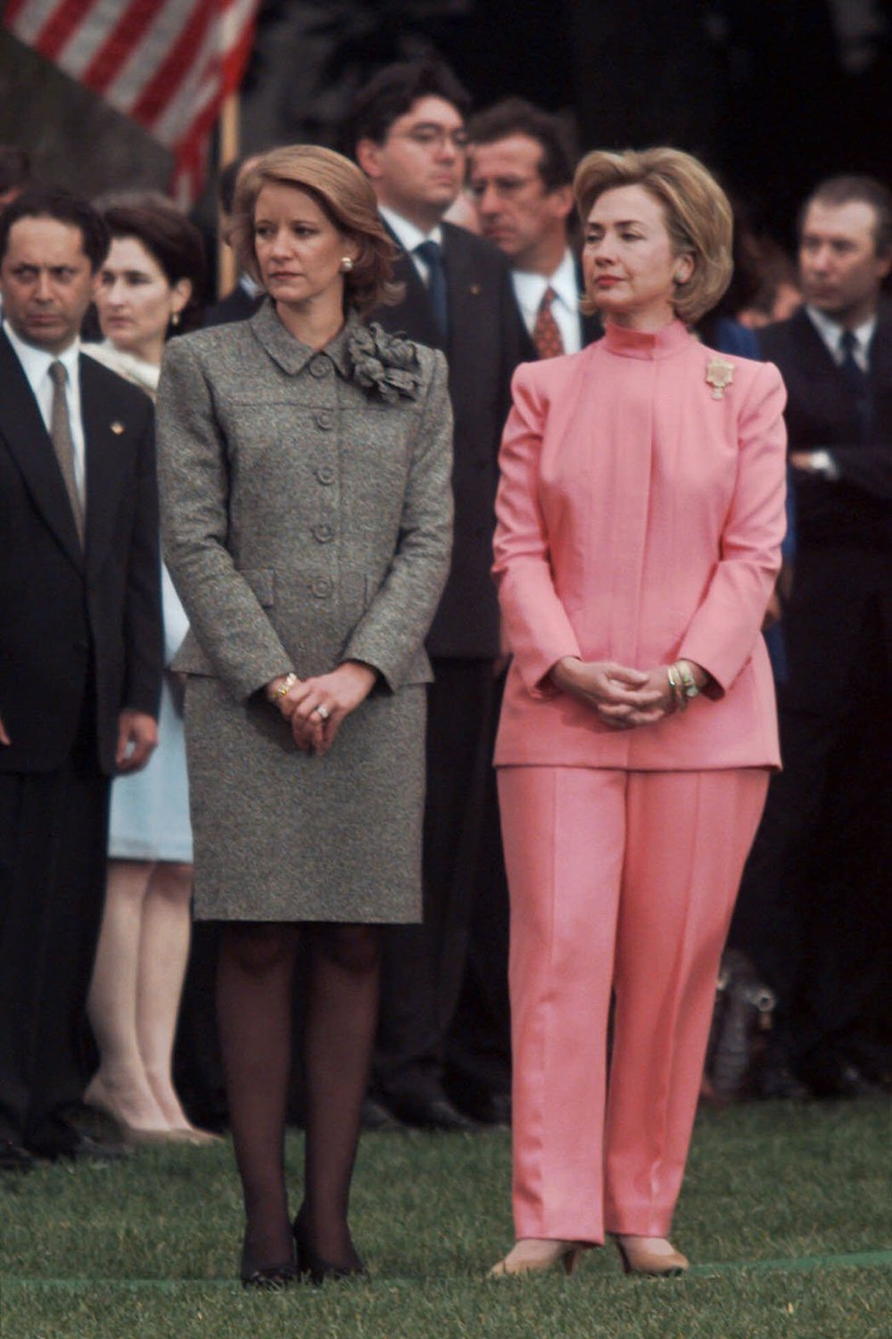6. 1998- Poised in Pastel       Clinton stays polished and accessorizes modestly with a pin.