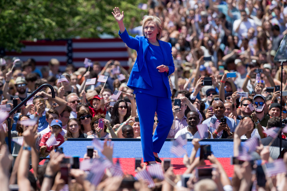 1. 2015 - The Boss in Blue       After years of practice, Hillary nails the classic blue pantsuit on her campaign trail for the 2016 presidential election