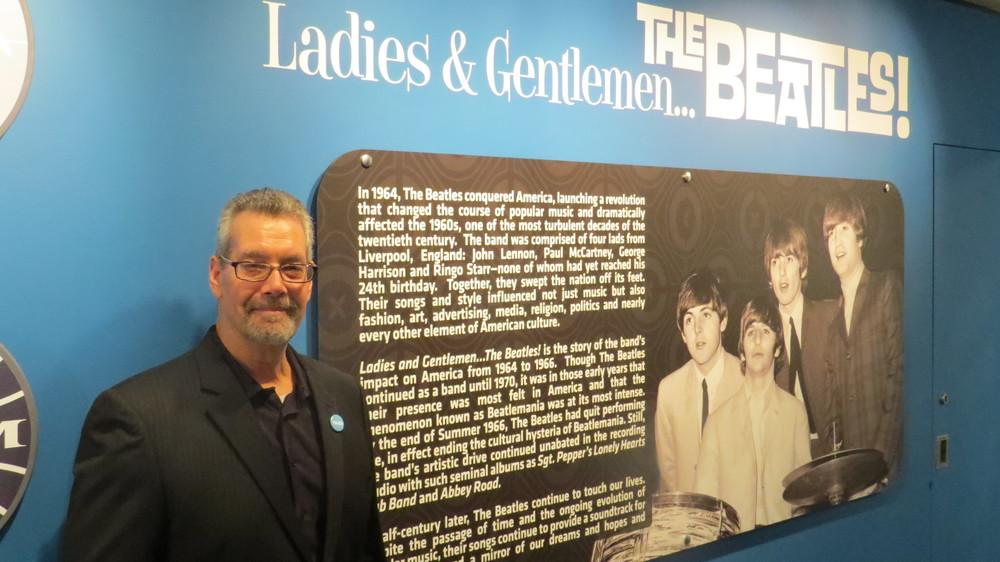 UT alum and Beatles memorabilia collector Mark Naboshek at the exhibit's opening at the LBJ Library. Photo courtesy of Bev Naboshek