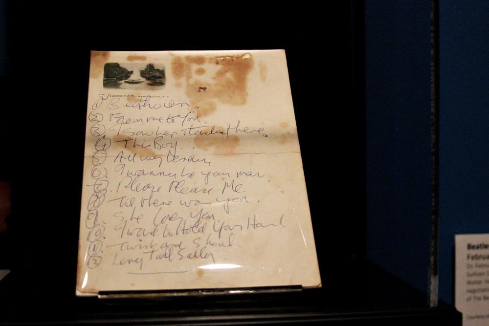 The original set-list for the first Beatles concert in America, written by John Lennon. The set-list is owned by Mark Naboshek.